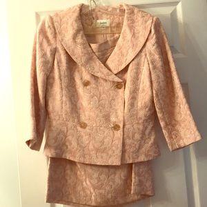 Neiman Marcus Pink Brocade Skirt Suit